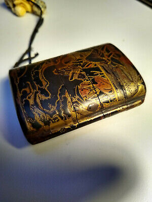antique Japanese carved gold lacquer Inro for use netsuke, meiji, 19th Century.