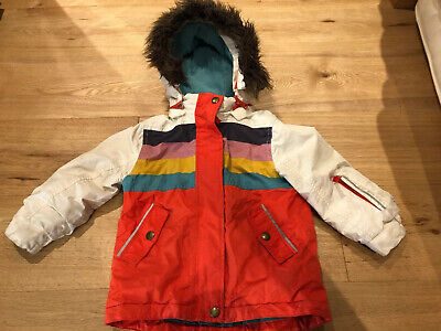 Mini-Boden girls Striped Hooded Fur Fleece Lined Ski Jacket 3-4y