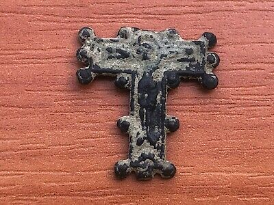 Ancient Byzantine Medieval Bronze Cross Circa 700-1200 AD JESUS CHRIST.
