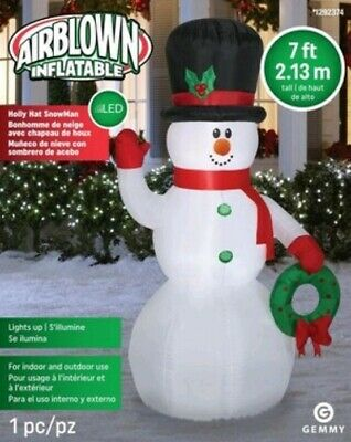 Dog Stealing Snowman Arm Christmas Inflatable 4 ft