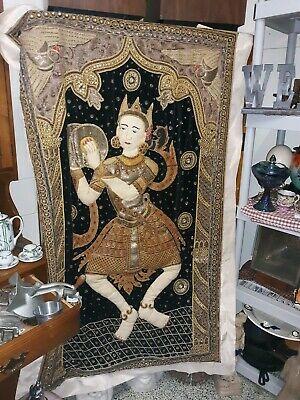 Rare Antique Vintage Burmese Kalaga Tapestry Wall Hanging 3d Huge! Museum Piece