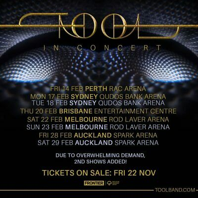 TOOL GA Ticket SYDNEY FIRST SHOW 17th Feb
