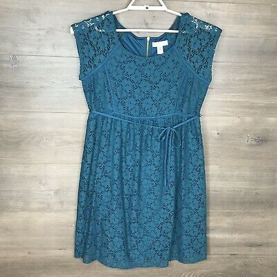 Motherhood Maternity Women's Size Medium Allover Lace Dress Teal Blue NEW