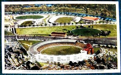 1956 Postcard Olympic Panorama Melbourne Cricket Ground, Olympic Pool Velodrome