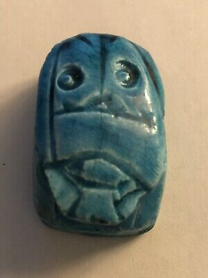 Unusual Antique Ancient Egyptian Carved & Turquoise Glazed Amulet  Scarab