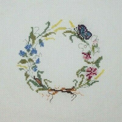 Butterfly Flower Grain Wreath Cross Stitch Completed Finished