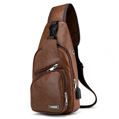 UK Men's Sling Bag Genuine Leather Chest Shoulder Backpack Cross Body Purse