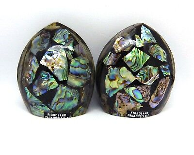 Paua Shell NZ Fiordland Souvenir Salt and Pepper Pots Shakers Collectible