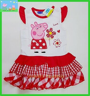 BNWT Peppa Pig girls cotton top t-shirt tshirt ruffle skirt 2pc oufit set New