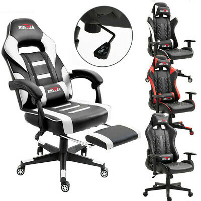 Executive Racing Gaming Game Chair Home Desk Swivel Reclining Adjustable Leather