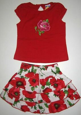 BNWT girls top t-shirt embroidered tshirt and flower printed skirt oufit set New