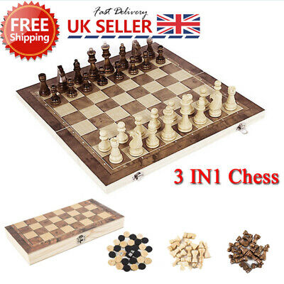 Folding Large Chess Game Wooden Set Chessboard Pieces Wood Board Gift Toy UK