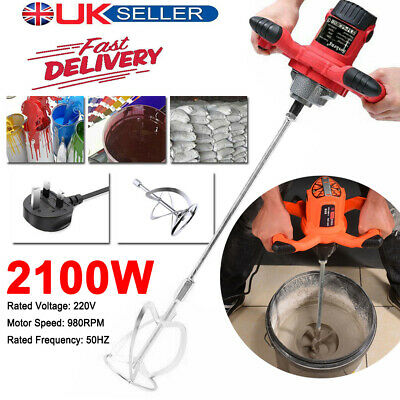 2100W Paddle Mixer Electric Plaster Mortar Cement Paint Stirrer Plastering Whisk