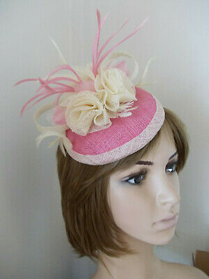 Rose Pink & Cream sinamay pillbox fascinator feathers flowers 2 clips