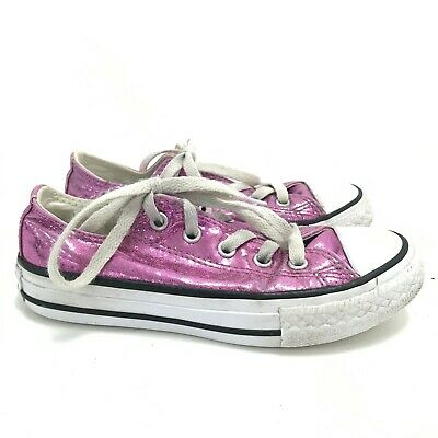 ALL STAR CONVERSE Pink Shimmer Low Top Trainers Infant Size UK13 EU31.5 SU171016