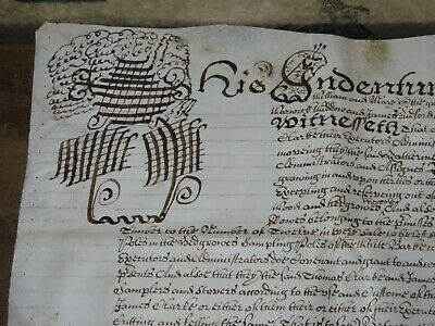 1691 VELLUM DOCUMENT from WILLIAM & MARY - LUDFORD of ANSTY COVENTRY WARWICK