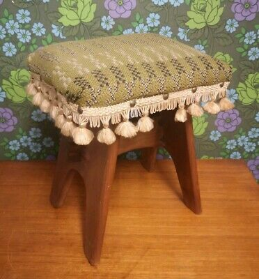 Vintage Wooden Arts & Crafts Stool Welsh Wool Fabric