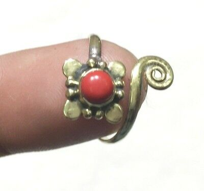 Red Coral Handmade Gemstone Ring Jewelry Brass Plated Adjustable Size Ring