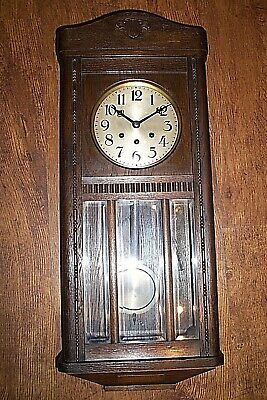 Antique 1920's Carved Oak Presentation Wall Clock (Chime Key & Pendulum Time)
