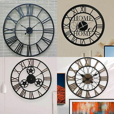 Large Roman Numeral Metal Wall Clock Skeleton Vintage Black Round Home Decor