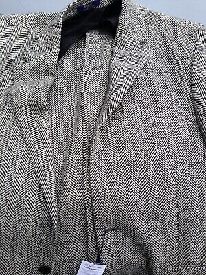 Ralph Lauren Polo Blazer Jacket Tweed Designer Wool 44 R Grey
