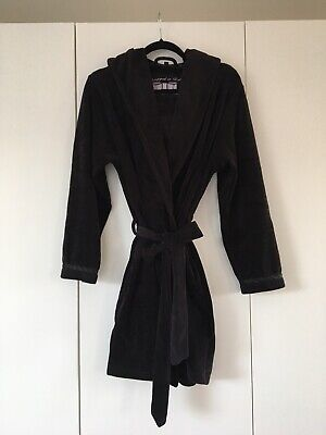 Ted Baker Womens Black Velvet Effect Night Dressing Gown Robe W/ Hood Size 8/10