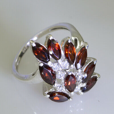 jewelry 925 Sterling Silver grand genuine Red Ring Garnet Gift UK