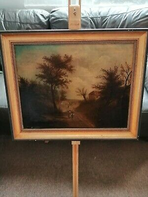Antique Early 19th Century Old Original Oil Framed Painting