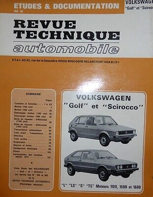 Revue technique VOLKSWAGEN GOLF 1 SCIROCCO L LS S TS essence  N° CIP 3502