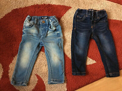 2 Pairs Baby Boys Next Skinny Fit Jeans Blue & Faded Blue Size 6/9 Mths Good Con