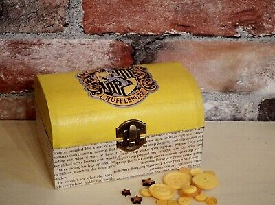 """Harry Potter inspired Hufflepuff trinket box """"Aged"""" book pages"""