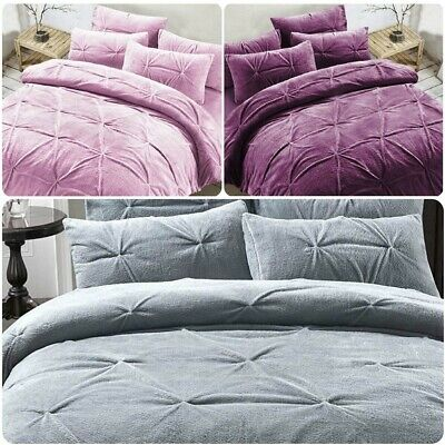 Madison Teddy Fleece Duvet Cover + Pillowcases Set Pinch Pleat Cozy Warm Bedding