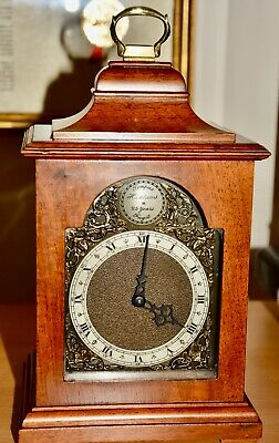 Miniature Vintage Bracket Clock. Mahogany Case. Balance Escapement.