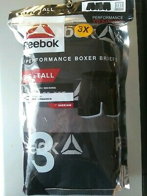 New Reebok Mens Underwear 3 Pack Boxer Briefs Performance Big & Tall 3Xl Xxxl