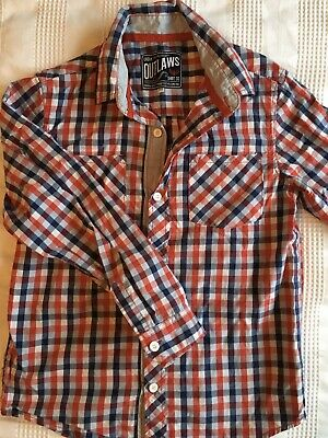 Urban Outlaw Red And Blue Check Boys Age 11-12 Long Sleeve Shirt