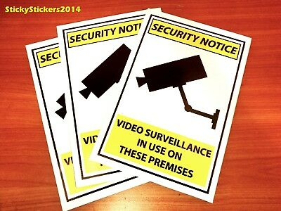 3 PACK Warning CCTV Security Video Surveillance Camera 200x300mm FREE DELIVERY