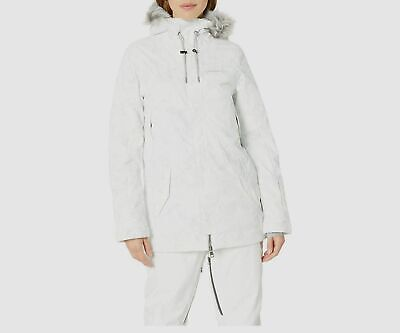 $195 O'neill Mens White Hooded Firewall Insulated Waterproof Parka Coat Jacket S