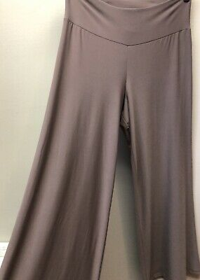 Clara Sun Woo Womens XS Beige Taupe Soft Stretch Travel Knit Palazzo Pants