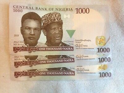 3x 1000 Nigeria Naira consecutive notes, good condition. world currency  (CB)