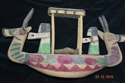 "Sale!! Egyptian Crypt Wood Funeral Boat, Mummy, Priests 12"" Prov"