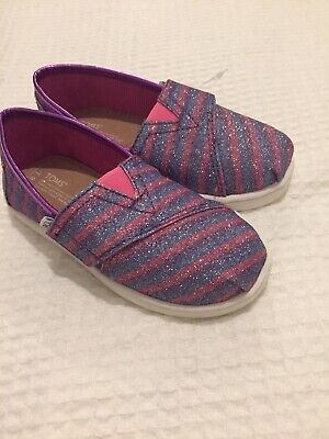 Toms Girls Shoes/trainers-  Childs Size 9 Immaculate Condition - Sparkly Pink