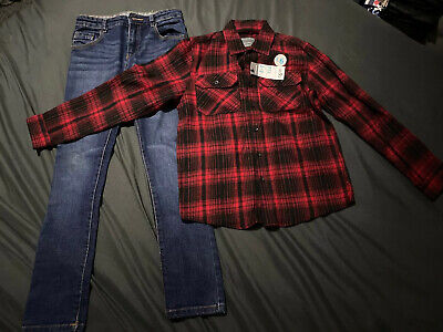 Boys Shirt & Skinny Jeans Set Age 8-9 New