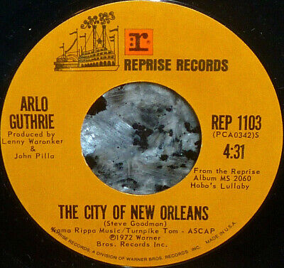 "< Ganga! Arlo Guthrie's Big Hit ""The City Of New Orleans"" 1972 Clean VG+ 45"