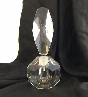 Vintage Faceted Crystal Glass Perfume Decanter Bottle w/Dauber ~ LARGE & HEAVY!