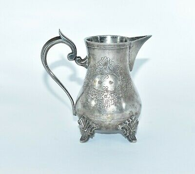 Lovely Old Antique Engraved Heavy Unmarked Silver Metal Sparrow Beak Jug