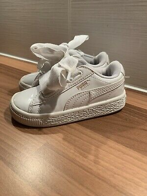Puma Basket Heart Trainers Baby Girl Infant Size 5 White Shoes