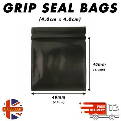 SELF SEAL Black Plastic Bags Baggy Grip Self Seal Resealable Zip Lock Plastic