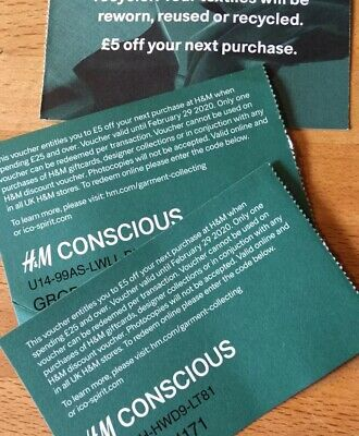 3 X H&M Shopping Store & Online Discount Vouchers Coupon worth £5 each TOTAL £15