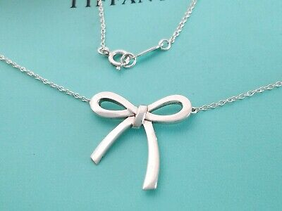 "Tiffany & Co Sterling Silver Bow Tie Necklace 17.75"" Genuine"