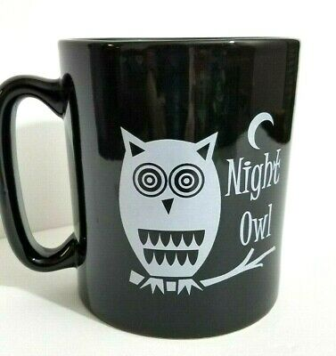 "The Old Pottery Company Coffee Mug ""Night Owl"" Black White Extra-Large Tea Cup"